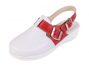 Medicínka obuv MED25 - Biela S Červeným Pásikom