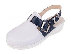 Medicínka obuv MED25 - Biela S Tmavomodrým Pásikom
