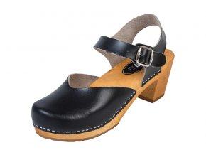 Dámske Drevákové Sandále Na Vysokom Opätku OS3 Čierne