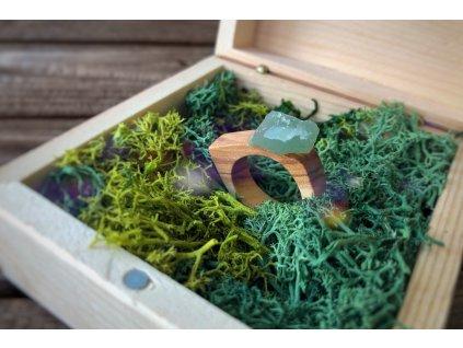 Dřevěný prstýnek s Avanturínem