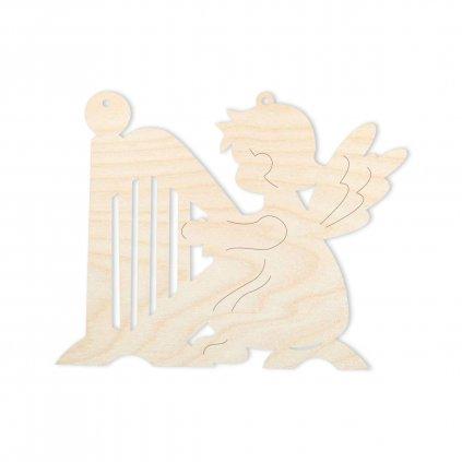 Anděl sedící s harfou - ozdoba na vánoční stromek