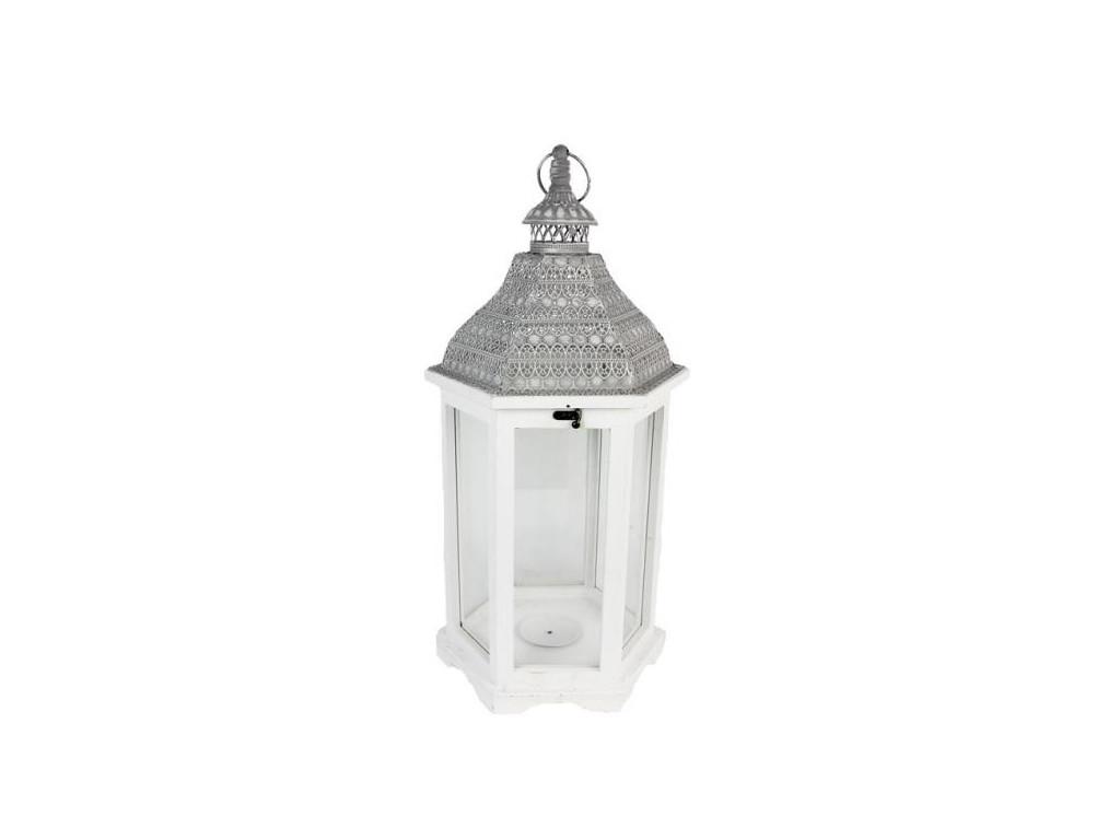 Drevený lampáš biely na terasu