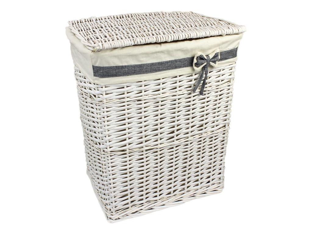 Biely prútený kôš na prádlo s mašľou