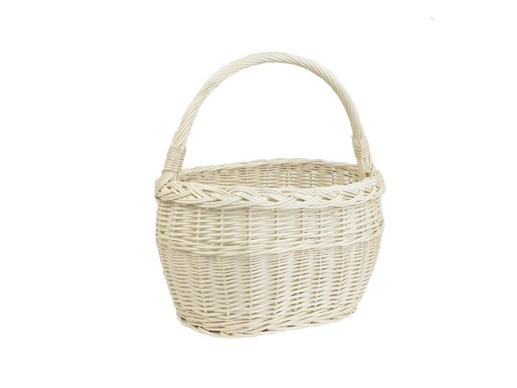 Prútený košík do obchodu i na ovocie - biely