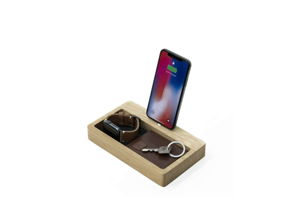 Drevená nabíjačka na iPhone a organizér