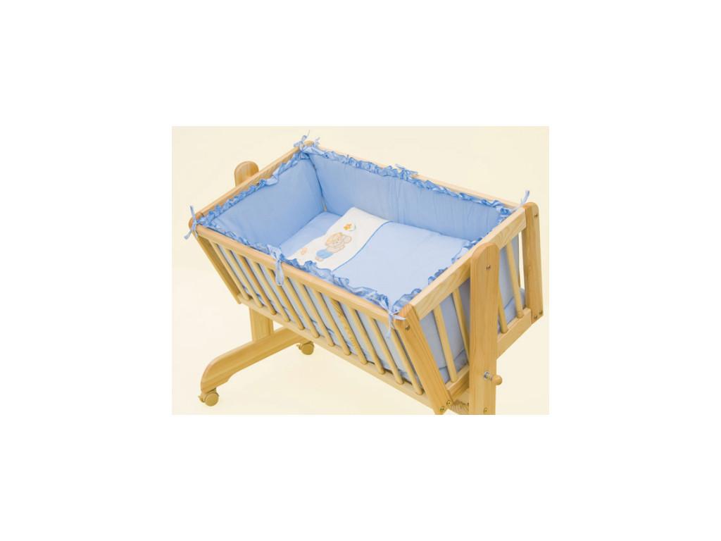 Modrá bavlnená súprava do kolísky - 6 dielov