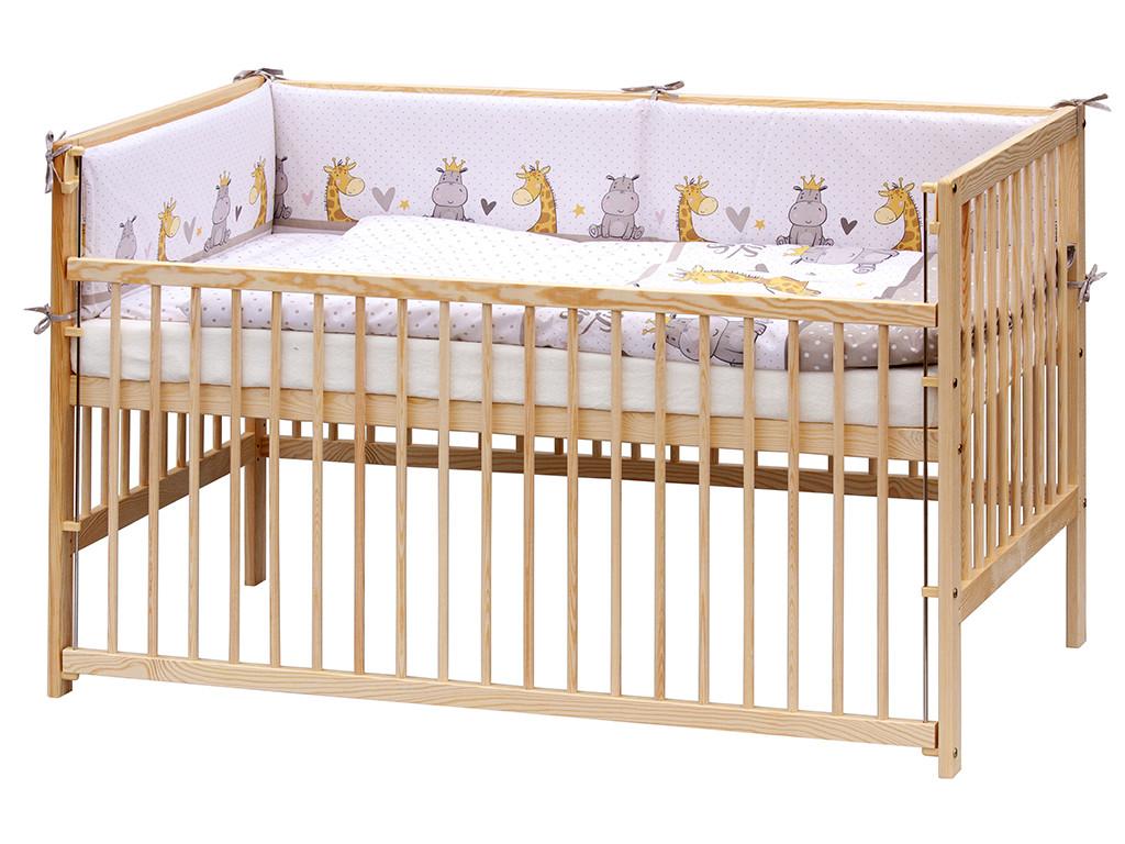 Detská postieľka s kompletnou výbavou - zvieratká, 140 x 70 cm