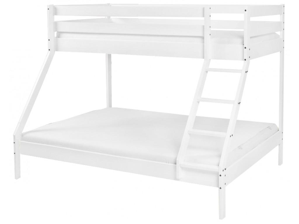 Biela poschodová posteľ Manfi - buk, 140 x 200 a 90 x 200 cm