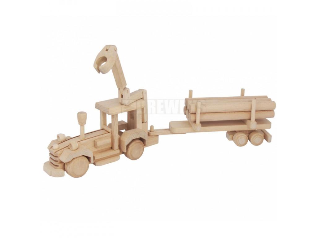 dreveny traktor s privesom