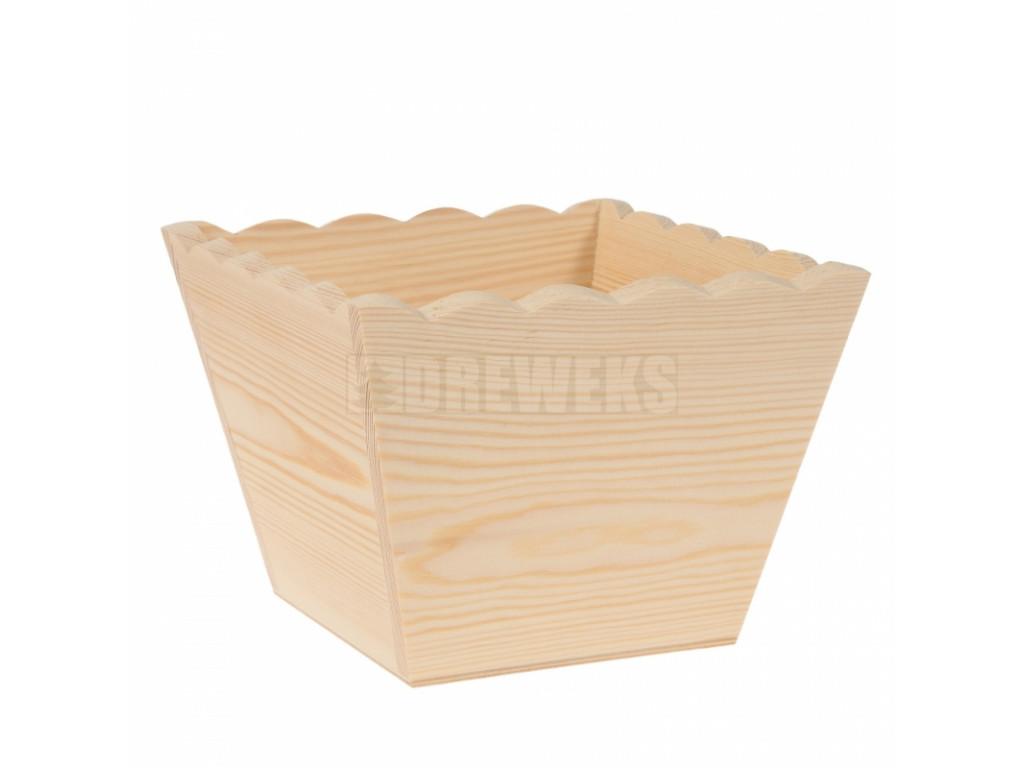 Štvorcový drevený kvetináč s vlnkami (2 veľkosti)