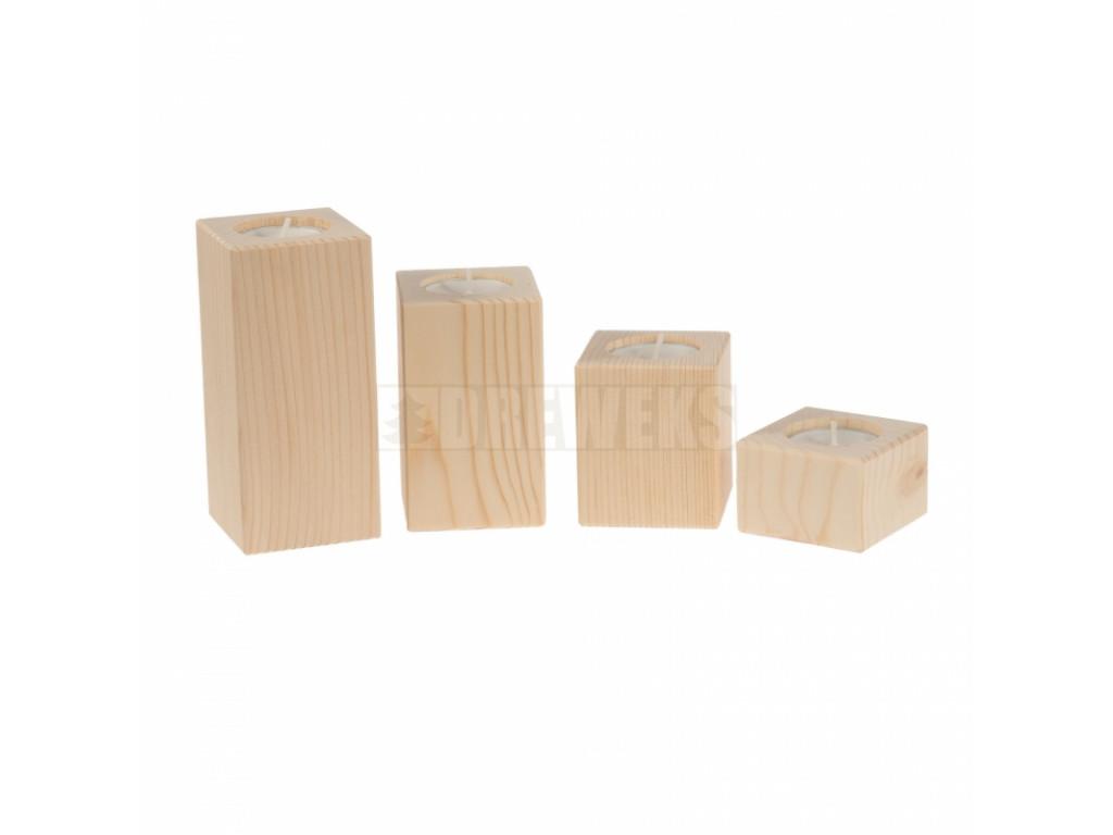 swieczniki drewniane komplet