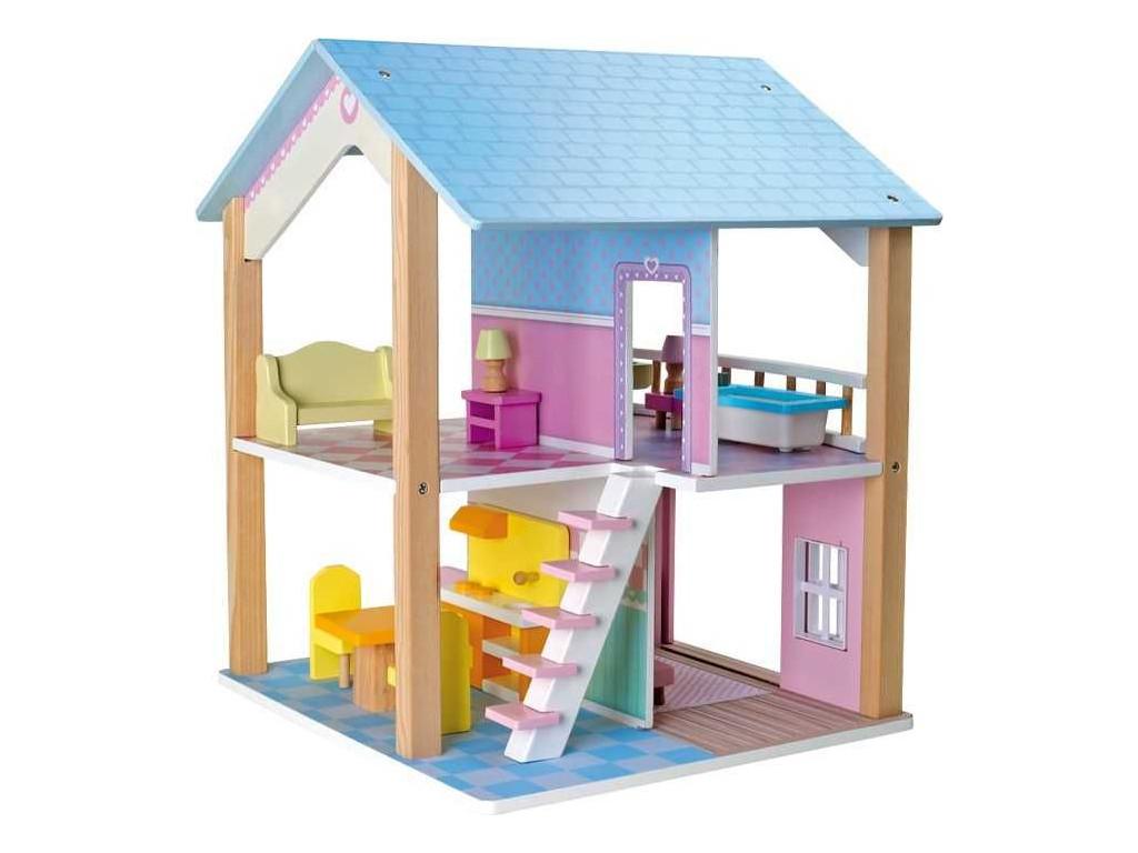 Dreveny domcek pre babiky modra strecha