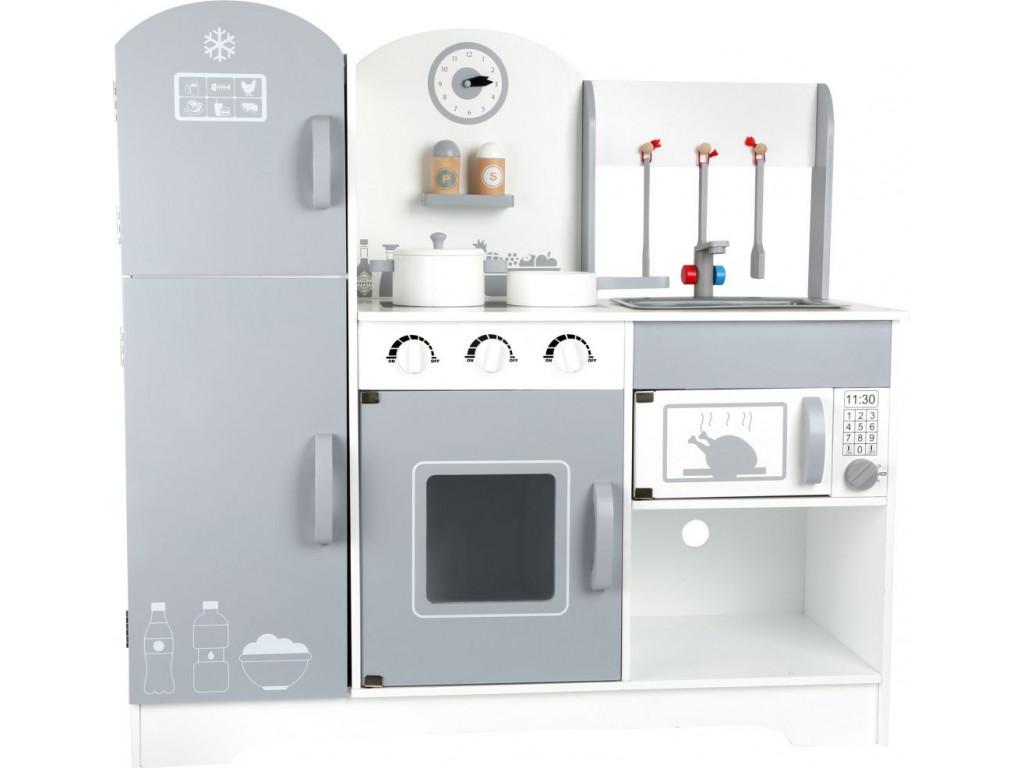 Drevena kuchynka s chladnickou siva