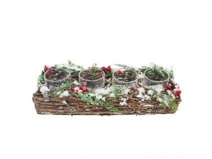 Pozdĺžny vianočný svietnik na 4 sviečky