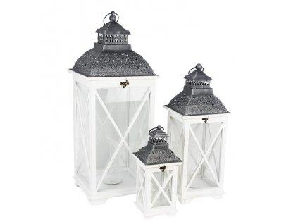 Drevený lampáš biely - set 3 veľkých