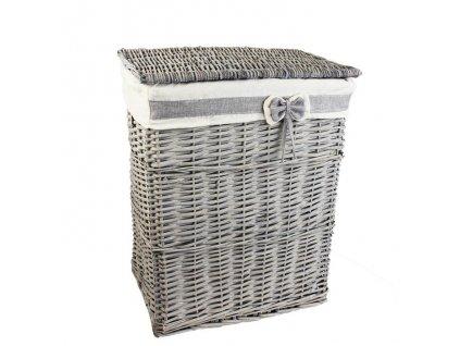 Šedý prútený kôš na prádlo s mašľou