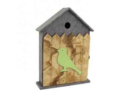 Box na kľúče - domček s vtáčikom