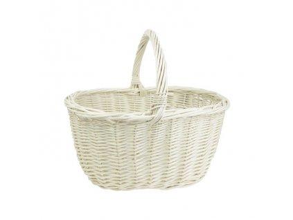 Biely prútený košík - hranatý