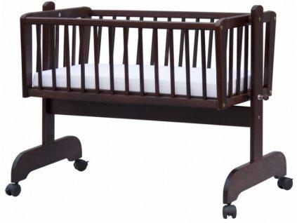 Hnedá kolíska pre bábätká z bukového dreva - 90 x 41 cm