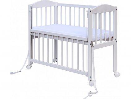Biela postieľka so sťahovacím bokom k posteli Baby - borovica,  90 x 41 cm