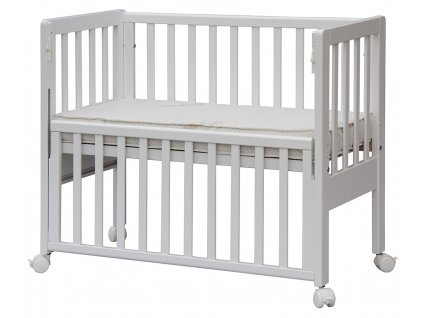 Biela postieľka k posteli so sťahovacím bokom Baby Anna - buk, 90 x 41 cm