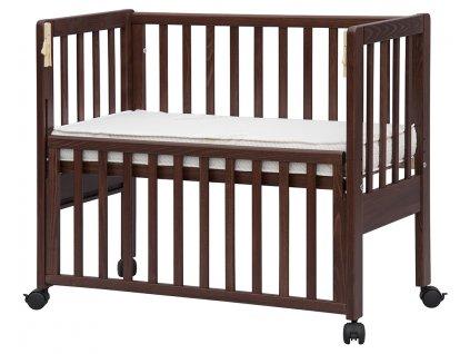 Hnedá postieľka k posteli so spúšťacou bočnicou Baby Anna - buk, 90 x 41 cm
