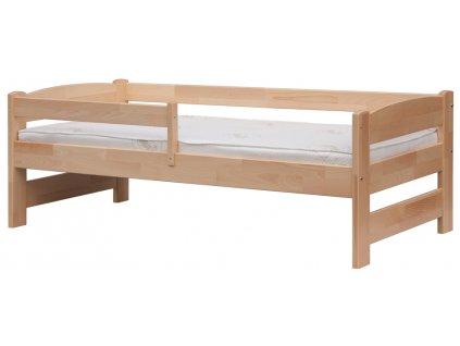 Detská posteľ z masívu so zábranou, buk 165 x 75 cm