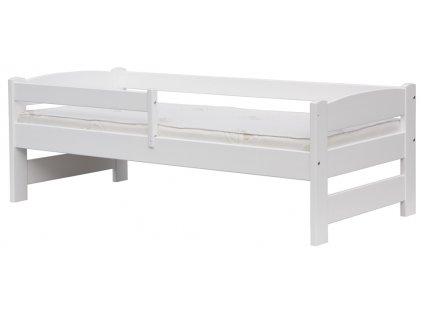 Biela detská posteľ z masívu so zábranou, buk - 165 x 75 cm