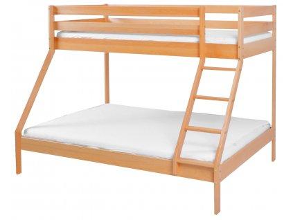 Drevená poschodová posteľ Manfi - buk, 140 x 200 a 90 x 200 cm