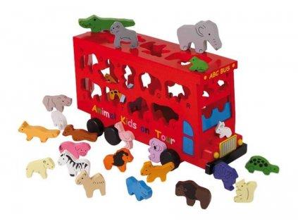 Vkladacka dreveny autobus so zvieratkami