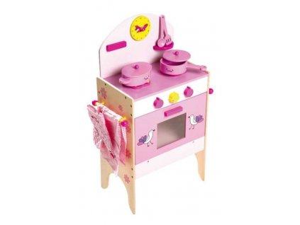 Detska drevena ruzova kuchynka pre babiky