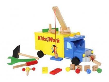 Drevene auto s naradim nakladne vozidlo Kids@work