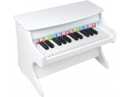 Drevena muzikalna hracka klavir biely