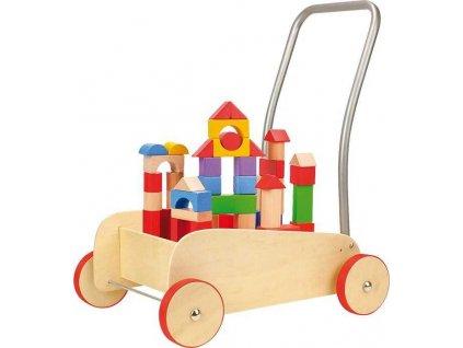 Choditko drevene kocky vo voziku