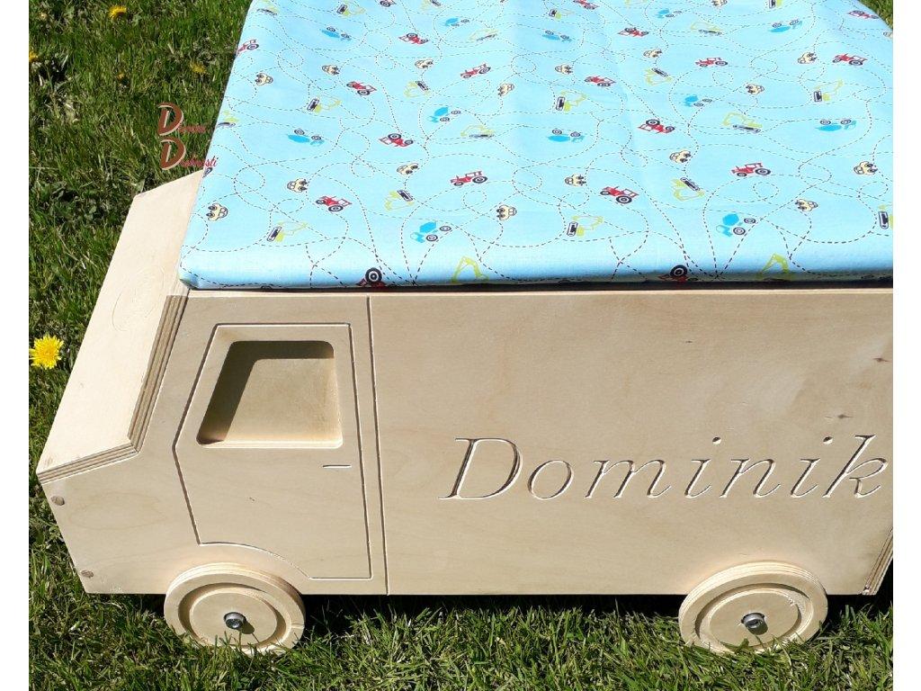 Dětský úložný Boxbox Na Hračky Autíčko S Gravírováním