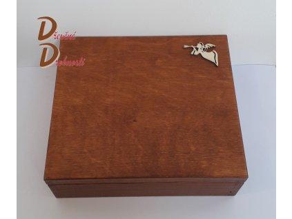 BOX NA ČAJOVÉ SÁČKY SE ŠESTI PŘIHRÁDKAMI +dekorace srdíčko,andílek,květina