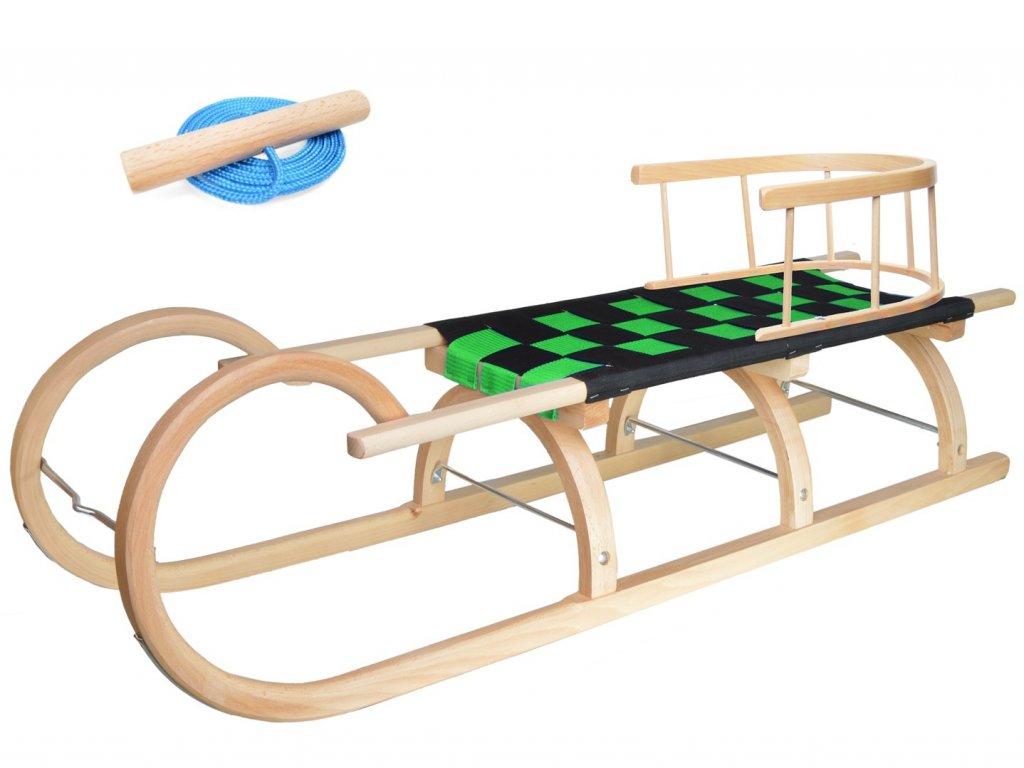 Dřevěné dětské sáňky se zeleným průpletem a ohrádkou (se zvýšenou nosností)