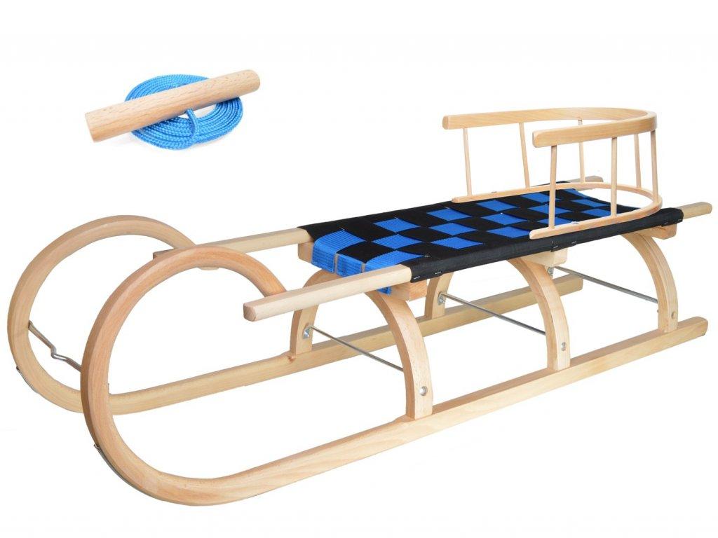 Dřevěné dětské sáňky s modrým průpletem a ohrádkou (se zvýšenou nosností)