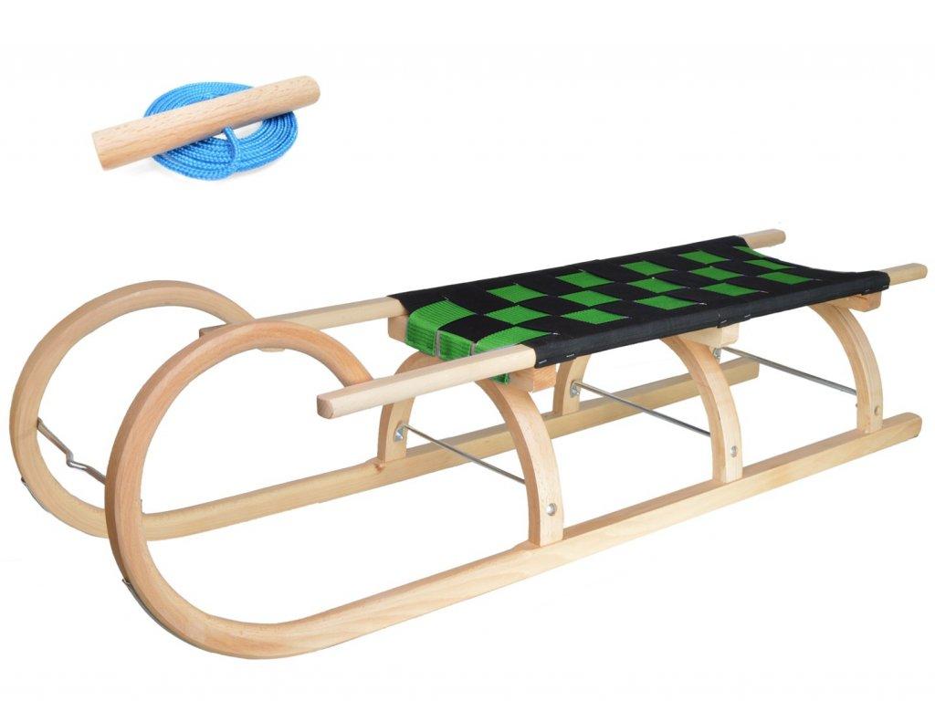 Dřevěné dětské sáňky se zeleným průpletem (se zvýšenou nosností)