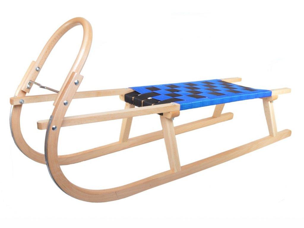 Dřevěné sportovní dětské sáňky s modrým průpletem