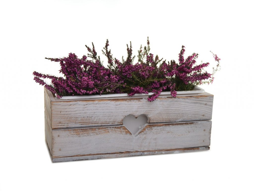 Dřevěný truhlík na květiny bílý - 40 cm