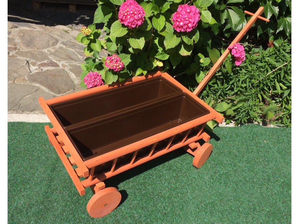Trakař - žebřinový vozíček na výsadbu květin s dvěma truhlíky