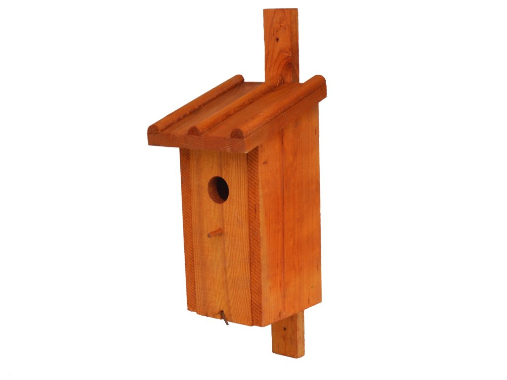 Dřevěná ptačí budka s nátěrem ohnivý mahagon