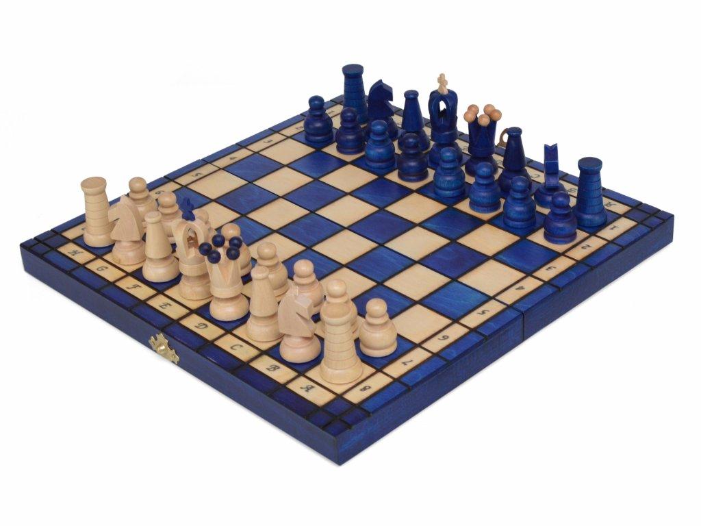 Dřevěné šachy - modré