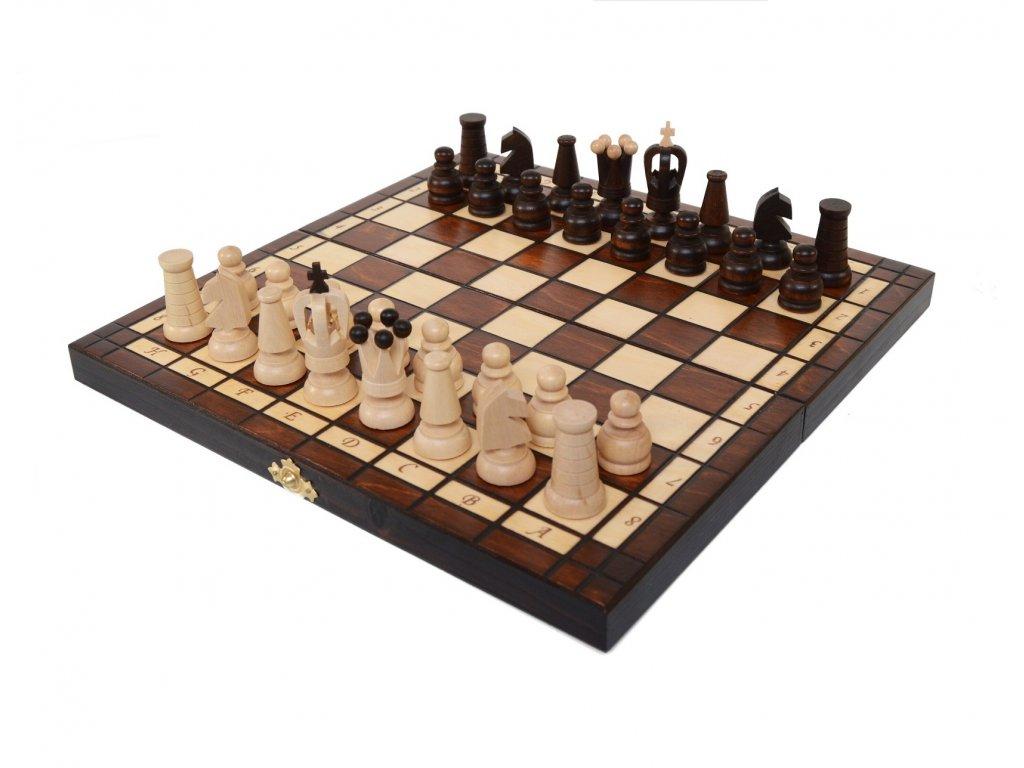 Skládací dřevěné šachy se sametovým vnitřkem