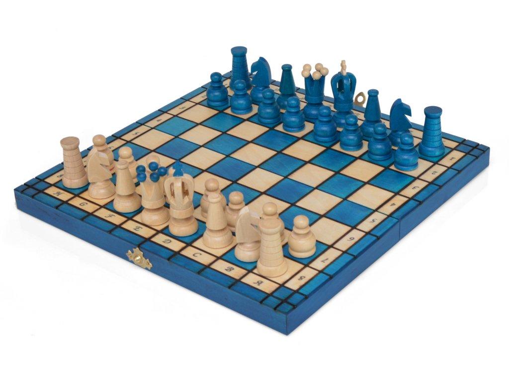 Dřevěné šachy - tyrkysové