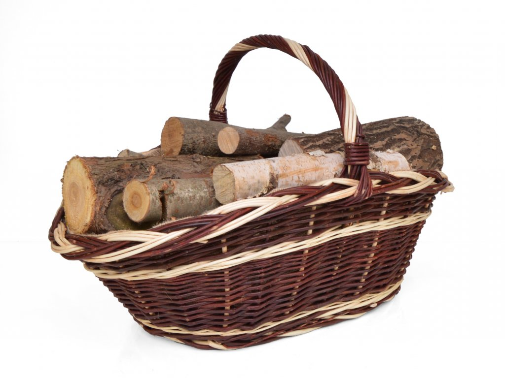 Koš na dřevo ke krbu Alois, obšitý jutou