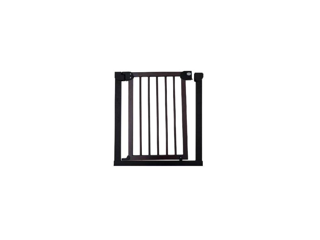 Dětská zábrana 83-90 cm - tmavé dřevo a kovový rám