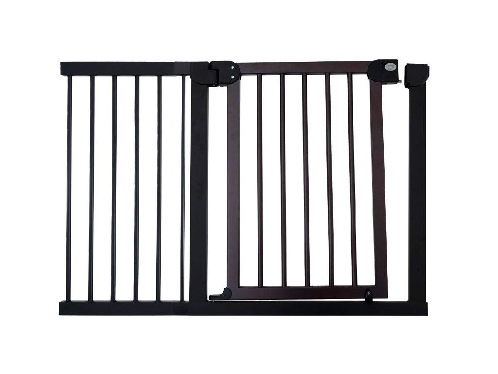 Dětská zábrana 118-125 cm - tmavé dřevo a kovový rám