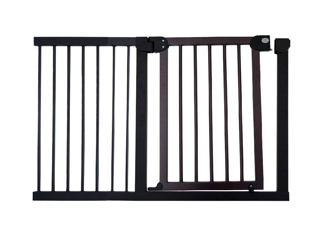 Dětská zábrana 125-132 cm - tmavé dřevo a kovový rám
